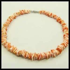 Coral Pink Chips Puka Shell Necklace Choker Girls 16