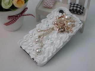 Cake Pearl Bling Rose Crystal Case Cover for iPhone 4 4S Black White