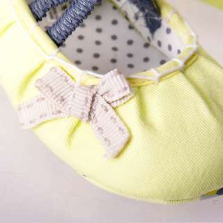 Yellow bow Mary Jane Kids infant toddler baby girl shoes size 2 3 4 6