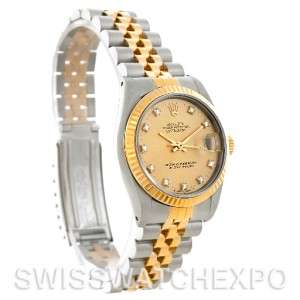 Rolex Datejust Midsize Steel 18k Gold Diamond Watch 68273