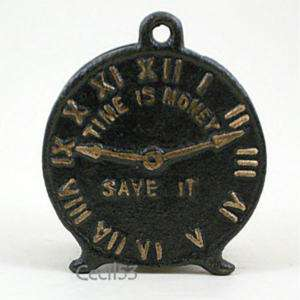 CAST IRON BANK CLOCK TIME IS MONEY