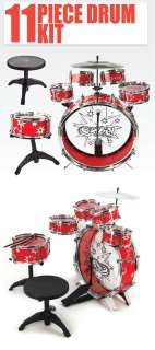 11 PC Kids Drum Set Red Boy Girl Musical Instrument Toy Music Band