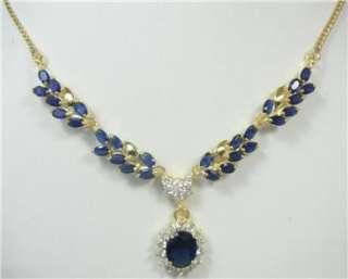 18k 14k, gf Sapphire Blue Stone Necklace sets 2, earrings Gold