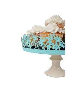 Robins Egg Lazer Cut Magnolia Wedding Cake Plate Plateau Stand Wrap