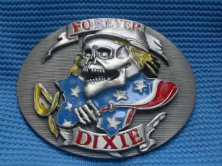 FOREVER DIXIE CONFEDERATE FLAG SKULL BELT BUCKLE