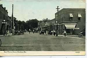 SHELBINA MISSOURI DOWNTOWN STREET SCENE NATIONAL BANK ANTIQUE VINTAGE