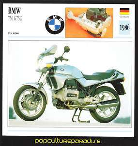 1986 BMW 750 K75C MOTORCYCLE Picture ATLAS SPEC CARD