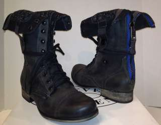 Steve Madden Cablee lace up back zip bootie black leather boots NEW