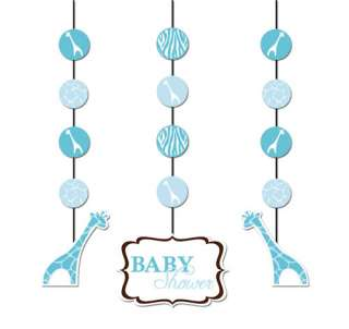 Baby Shower Party Wild Safari Blue Hanging Cutouts 3 Pack