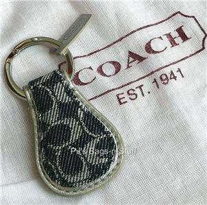 Coach Signature C Denim Blue Silver Tear Drop Key Ring Fob Chain 92699