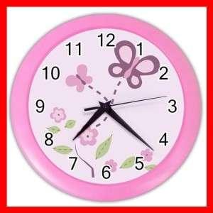 Pink Butterfly Fly Girls Fun WALL CLOCK Pink