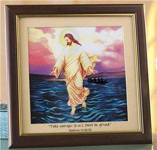 BEAUTIFUL JESUS WALKING ON WATER PORTRAIT WITH LIGHTED COLOR CHANGING