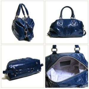 COACH ASHLEY PATENT LEATHER COBALT BLUE LARGE SATCHEL PURSE 15455 NWT