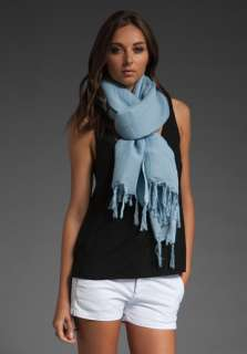 LOVE QUOTES Hand Knotted Fringe Wrap Scarf in Faded Denim at Revolve
