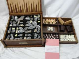 History Channel Wood Box Civil War Chess Set Checker Backgammon