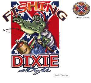 FISHING, DIXIE STYLE, Gator, White T shirt,sizes S XL