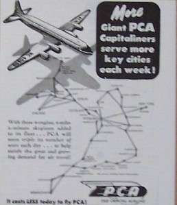 1946 PCA Capitol Airline/Airplane Print Ad