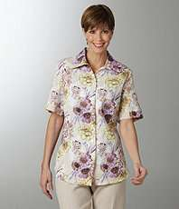 Allison Daley Pucker Floral Print Camp Shirt $19.20