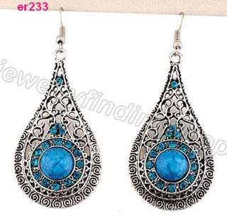 1pairs nice Tibetan Silver exquisite Crystal Beaded dangle Earring