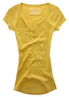 Womens AEROPOSTALE Yellow Waffle Thermal Henley Shirt |