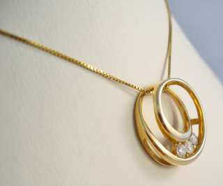 14K YELLOW GOLD LADIES DIAMOND CIRCLE PENDANT
