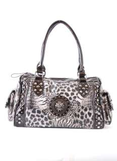 Lionhead Animal Print Boston Bag Satchel Purse BROWN Cheetah, Jaguar