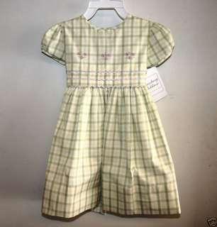 Strasburg Baby Girl Green Plaid Tucked Dress NWT 18M