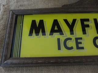 Vintage Mayfield Ice Cream Reverse Painted Glass Sign  Antique Old