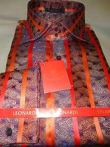 Orange Stripe & Navy Blue Paisley High Collar F/C Dress Shirt
