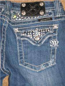 SUPER CUTE GIRLS MISS ME STUDDED RHINESTONE FLAP POCKET CAPRI JEANS