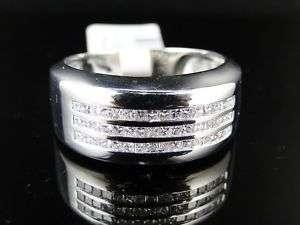 14K MENS WHITE GOLD DIAMOND WEDDING BAND RING 0.50 CT