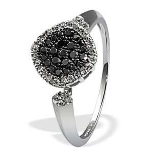 Goldmaid Damen Ring 585 Weißgold 23 weisse 28 schwarze Diamanten