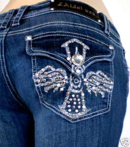 Miss La Idol Jeans Rhinestone Angel Cross Bootct. 1 13