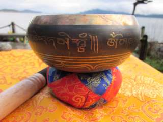 RARE TRADITIONAL 7 METALS TIBETAN BUDDHIST SINGING BOWL COMPLETE SET