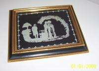 ANTIQUE REVERSE ETCHED GLASS SILHOUETTE PICTURES UNUSUAL SET 3