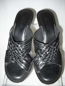 MICHAEL KORS  BLACK LEATHER BOX WEAVE SLIDES HEEL SHOES 5.5M