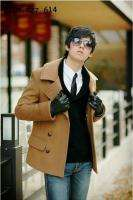 NEW Mens Style Collar Cool Double Breasted Trench Coat Jacket Light
