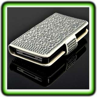 Apple iPhone 4 4G Strass Case Bling Leder Tasche Hülle