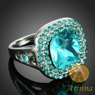 Misty Blue Swarovski Crystal ARINNA White Gold GP ring