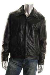 Tommy Hilfiger Mens Jacket Black Leather Coat L