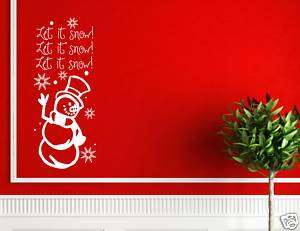 LET IS SNOW SNOWMAN Christmas decorations wall decals