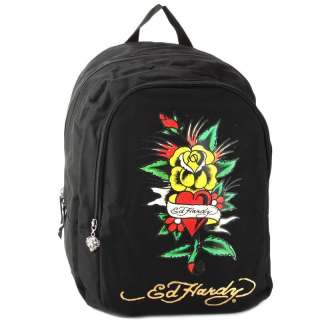 NWT Ed Hardy Black Josh Yellow Rose Flower Red Heart 17 Backpack
