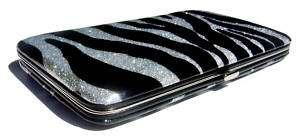 Zebra Black Silver Glitter Designer Clutch Case Wallet