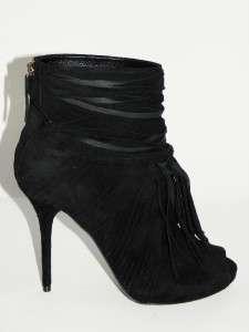 CurrentGUCCI Akerman Black Suede Open Toe Fringe Bootie Boot Shoe