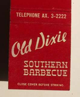 1950s Matchbook Old Dixie Southern Barbecue Los Angeles