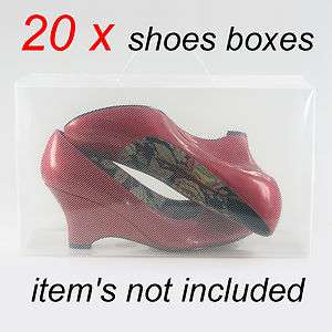 20 X Clear stackable plastic womens shoe storage boxes