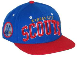 KANSAS CITY SCOUTS NHL HOCKEY VINTAGE BLUE SUPER STAR SNAPBACK HAT/CAP