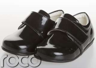 BABY BOYS BLACK VELCRO WEDDING FORMAL SHOES for suits