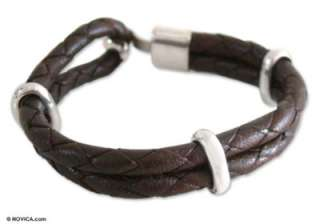 BROWN Mens Sterling Silver BRAIDED Leather BRACELET: Bracelets