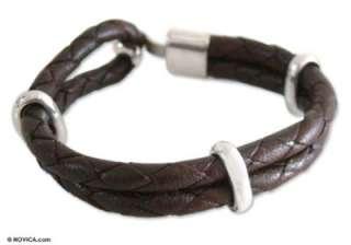 BROWN Mens Sterling Silver BRAIDED Leather BRACELET: Bracelets